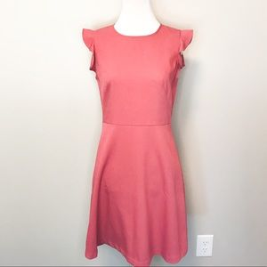 Loft Ruffle Sleeve Pink Fit and Flare Dress